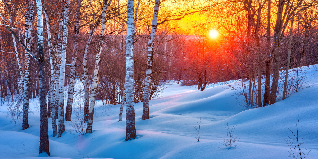 Beautiful winter sunset in Rochester, New York.